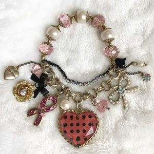 Betsey Johnson Breast Cancer Charm Bracelet